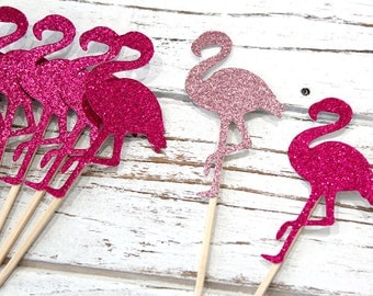 Pink Flamingo Cupcake Toppers - Set of 12