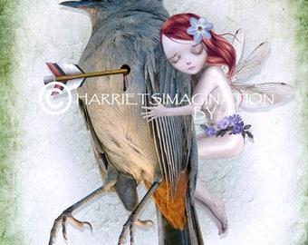 Fairy Art Print - Fairy And Dead Bird - Melancholy Art - Fantasy Art - Last Breath