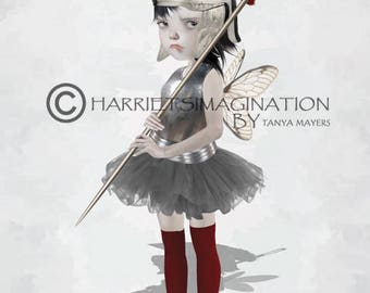 Warrior Fairy Art Print - Fairy And Sewing Needle - On Guard