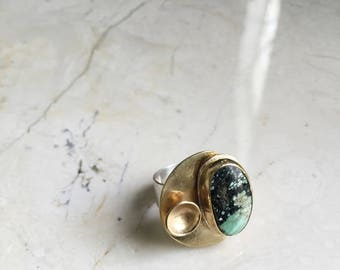 New Lander Turquoise Ring. Size 6.5 One of a Kind. Statement Ring. Boho Style. Modern. Sterling Band. Golden Brass.