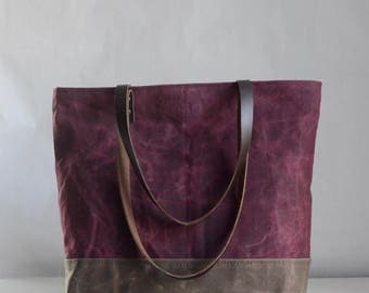 Wine Waxed Canvas Tote Bag with Leather Straps - Ready to Ship