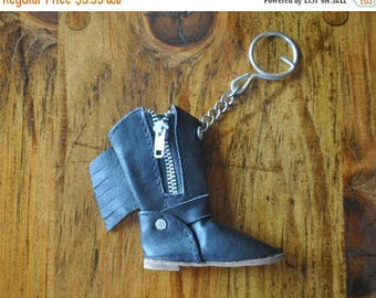 SALE Leather Boot Keychain / 1980s