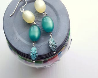 water feature earrings - vintage lucite and sterling silver - verdigris - lemon yellow - moonglow