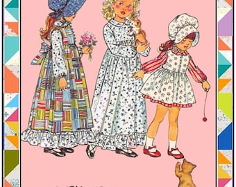 Vintage 1973-HOLLY HOBBIE FASHIONS-Pinafore-Dress-In Two Lengths-Bonnet-Toddler Sewing Pattern-Sweet Ruffles-Buttons-Bows-Size 2-Rare