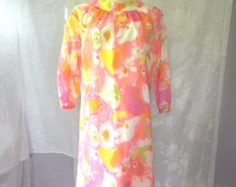 60s Pink Sheath Dress AVALON Sheer Floral Motif Cotton Blend Sz M