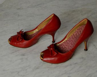 Vintage High Heels, Stiletto Heels,1950s Shoe, 50s Shoes, Red Shoes, Peep Toe, Leather Heels, Rockabilly Shoes, Pin Up Shoes,