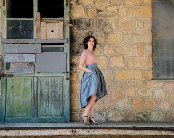 Gunmetal Blue Full Skirt, Midi Hilow High Waist Silk Taffeta Evening Skirt with Pleats and Pockets, Prom Skirt, Customize color and length