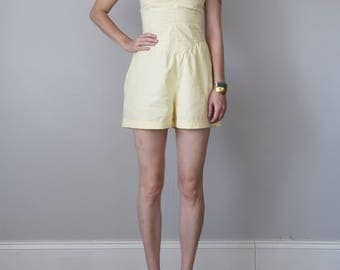 80s romper / strapless sweetheart short cotton pale yellow one piece (xs - s)