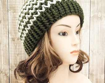 Ladies Winter Hat, Green and Off White Crocheted Women's Beanie