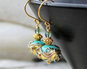 Turquoise Green and Gold Lampwork  Drop Earrings