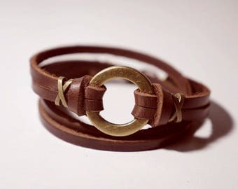 Leather Bracelet Wrap Bracelet Leather Cuff Bracelet Women Leather Bracelet with Bronze O Ring in Brown Color with Lobster Clasp