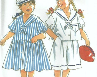 Vintage New Look 6570 UNCUT Girls Drop Waist Sailor Dress or Top and Culottes-Shorts Plus Sailor Hat/Beret Sewing Pattern Size 3-8