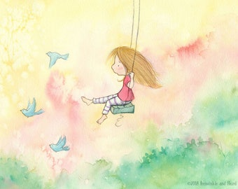 The Girl Who Wanted To Fly - Blonde Girl Swinging and Bluebirds - Art Print - Children