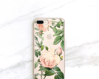 Roses iPhone X Case Clear Floral iPhone 7 8 Plus Case Gift For Her, Peach Pink Rose, Valentines Day Gift Ideas for Women
