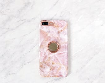 Ring Phone Stand Holder - Rose Quartz Case iPhone and Samsung Galaxy, Expanding Stand and Grip for Smartphones
