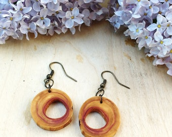 Salvaged Lilac Earrings, Dangle Wood Earrings, Tree Slice Earrings, Boho Earrings