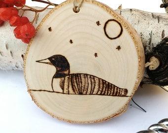 Wood Burned Loon Ornament, Rustic Canada Birch Ornament, Salvaged Birch Tree Slice Ornament, Custom Ornament