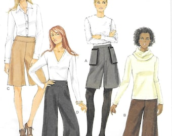 Butterick 5681 UNCUT Fast and Easy Culottes in Two Lengths Sewing Pattern Waist 25 to 32 Yoke Pants