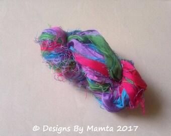 Hydrangea Craft Sari Silk Ribbon Yarn, Variegated Sari Ribbon Yarn, Recycled Sari Silk Yarn, Colorful Art Yarn, Multicolored Ribbon Yarn