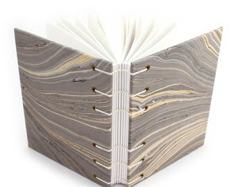 Marbleized Blank Journal -  Handmade book with gray and gold paper covers by Ruth Bleakley
