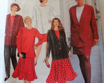 Vintage 1992 Simplicity Pattern 8081 - Wardrobe - Pants, Slim & Flared Skirts, Top, Jacket, Sizes 26-32W, UNCUT, FF