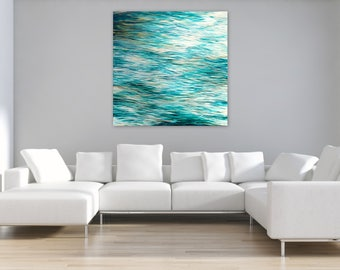 "SALE Extra Large Abstract Seascape, Original Painting, 48"" square Canvas Wall Art, Coastal Decor, turquoise teal white gold, Free Shipping"