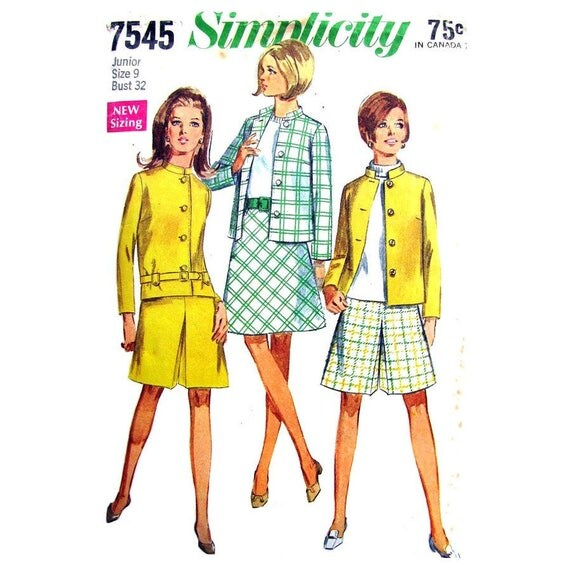 60s Lined Boxy Jacket, Skirt, Pantskirt Pattern Simplicity 7545 Bust 32 Pleated Skort Junior