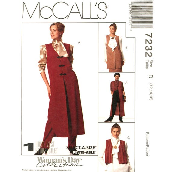 Easy Unlined Vest Sewing Pattern McCalls 7232 One Hour Long Vest Womens Size 12 14 16
