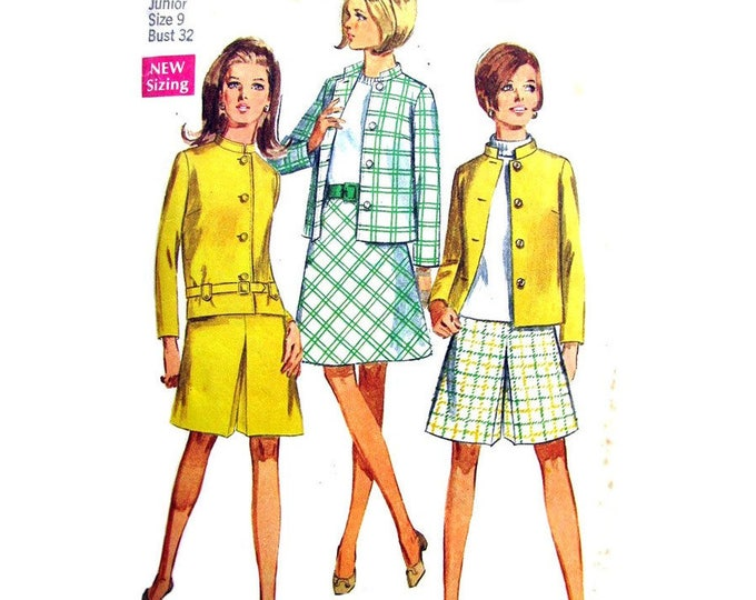 1960s Lined Boxy Jacket, Skirt, Pantskirt Pattern Simplicity 7545 Bust 32 Junior