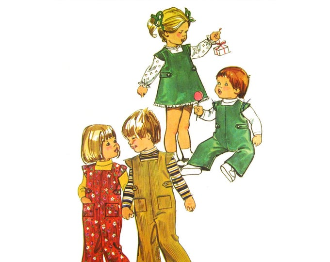 Toddler Overalls, Jumper Dress, Blouse Pattern Simplicity 5992 Boys or Girls Size 1/2