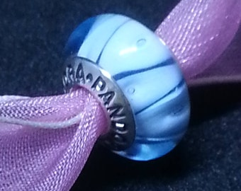 Pandora Murano Blue Looking Glass charm bead # 790924 + Pocket box~ RETIRED