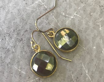 Golden Pyrite Earrings with Gold Filled Ear Wires - Dangle Earrings - Midas Handmade by SplendorVendor