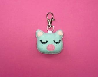 Pig Keychain - Pig Bag Charm - Mint Pig Keyring - Pig Party Favor - Cute Piglet - Pig Charm - Bag Charm - Mothers Day Gift