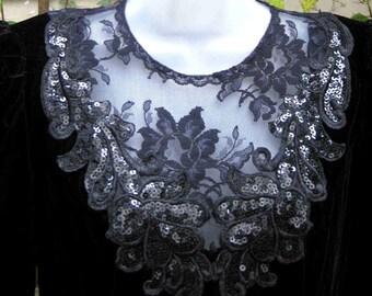 sz 8 BLACK LACE Collar Sequined Sequin dress by Scott McClintock of Gunne Sax, size 8 black lace dress