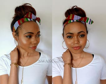 Bun Wire Wrap, Rockabilly Headband, Dolly Bow Headband, Messy Bun Wrap Kente Wrap - SERENGETI or Choose Color