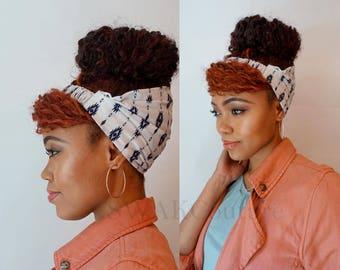 Satin Lined Headband Wide Headband Wrap Pineapple Bun Wrap Ankara African Print Wrap Turban - Navy Tribal or Choose Print