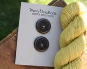 2 Black Walnut Tree Buttons- Black Walnut Wood- Wooden Buttons- Eco Craft Supplies, Eco Knitting Supplies, Eco Sewing Supplies