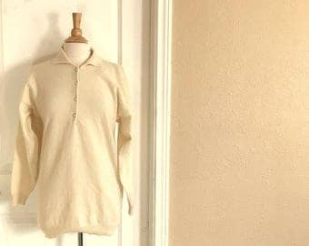 Vintage Cream LAMBSWOOL Angora Sweater / PEARL Button Collar Shirt / 90s Bonnie Strauss / Womens Large