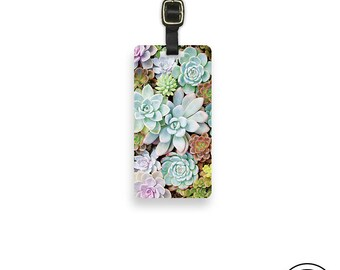 Luggage Tag Succulents Plant Metal Luggage Tag  With Printed Custom Info On Back,  Choice of Straps