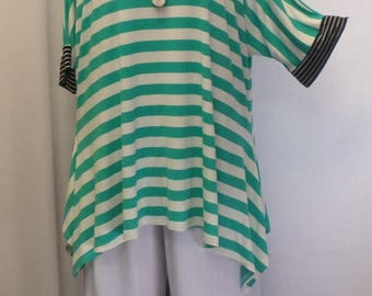 Womens Plus Size Top, Coco and Juan, Lagenlook, Plus Size Tunic, Green Stripe, Rayon Knit Drape Sides, Tunic Top, One Size Bust to 60 inches