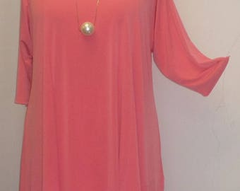 Coco and Juan, Lagenlook, Plus Size Tunic Top, Asymmetrical Top, Dk Coral, Knit, Women's Tunic Top, Size 1 (fits 1X,2X)  Bust 50 inches