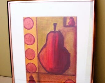 Framed Pear Drawing Copper Frame Red Kitchen Wall Decor Art