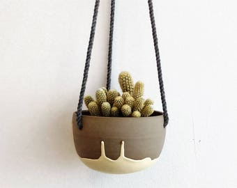 Modern plant hanger yellow and grey. Small ceramic hanging planter. Color dripping. Cactus, succulent, plant pot
