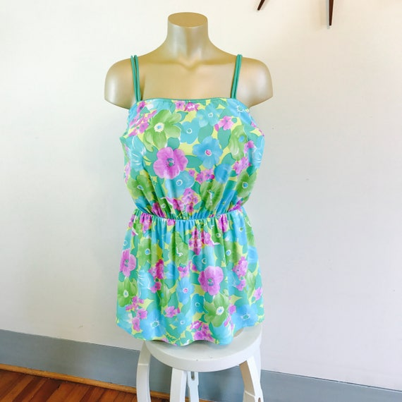 Vintage swimming dress, Plus Size 16 XL, Sea Wave swimwear, bathing dress, Skirted swimsuit, 1960s swimwear, Beach Coverup, Bathing suit top