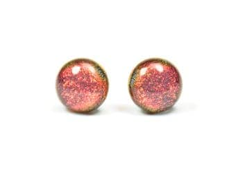 Candy Apple Red Dichroic Glass Stud Earring / One of a kind glass earring