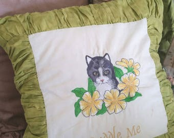 vintage cat cushion, floral embroidery, black and white cat, cat lovers gift, ruched edging, cuddle me