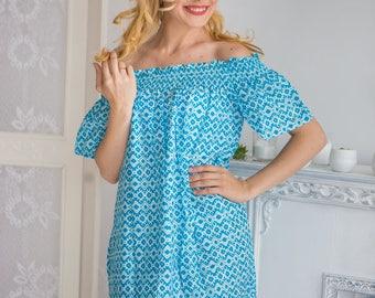 Light Blue Geometric off shoulder Shift Dress| Summer Dress| Workwear| Sundress| Tunic| Boho Dress| Short Dress| Street Style| Short Dress