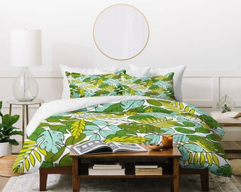 Modern Tropical Duvet Cover // Bedding // Twin, Queen, King Sizes // Home Decor // Modern Tropics Design // Palm Leaves // Hawaiian Trend
