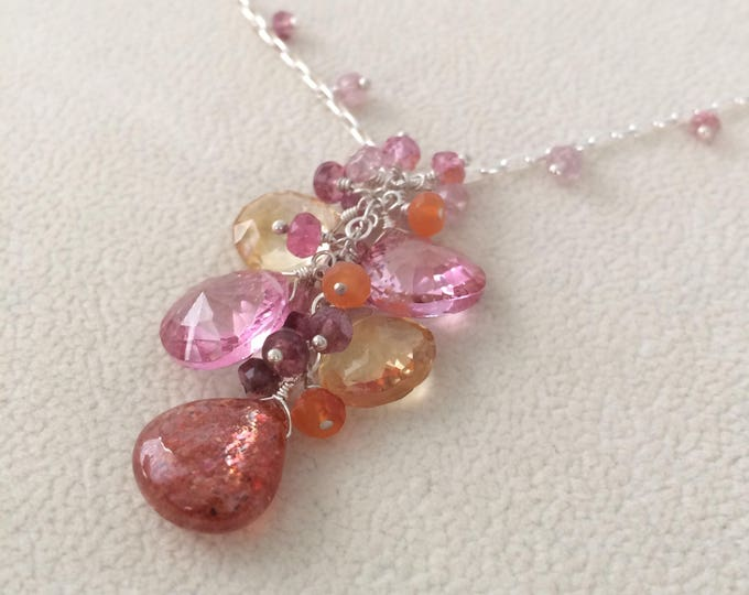 Semiprecious Pink Gemstone Pendant Necklace in Sterling Silver with Sunstone, Mystic Topaz, Citrine, Tourmaline, Carnelian