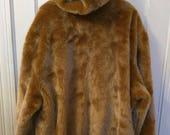 Phat Farm fur hoodie coat jacket reversible suede leather camel beige men 4XL 90s nineties
